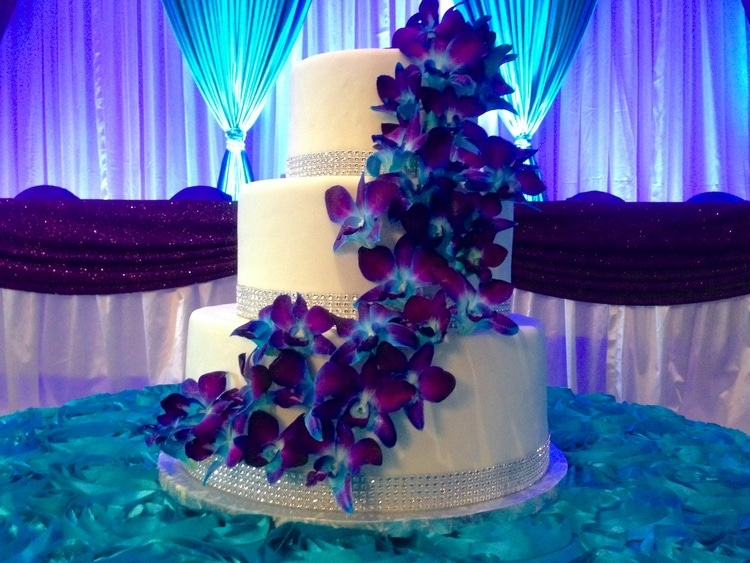 Orchid Covered Wedding Cake