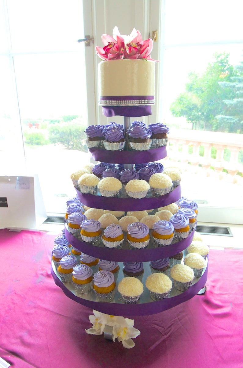 Flowers and Ribbons Wedding Cupcake Tower