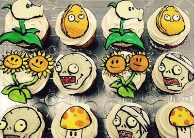 Plants vs Zombies Painted Cupcakes