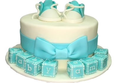 Baby Boy Blocks and Shoes Cake