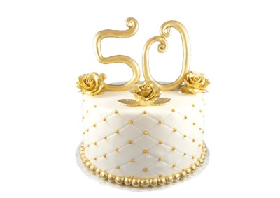 50th Anniversary Gold Quilted Family Celebration Cake