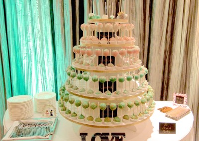 Green and Pink Cake Pops Tower Wedding Treats
