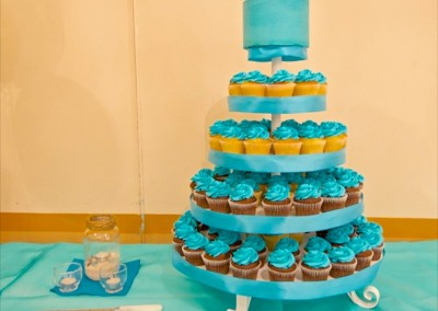Teal Tops and Ribbons Cupcake Tower