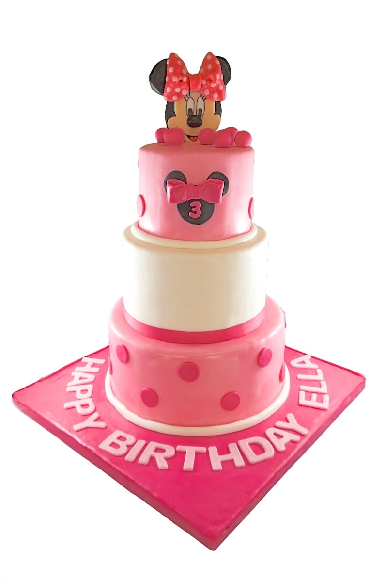 3 tier Minnie Mouse Theme - Whimsical Cake Studio