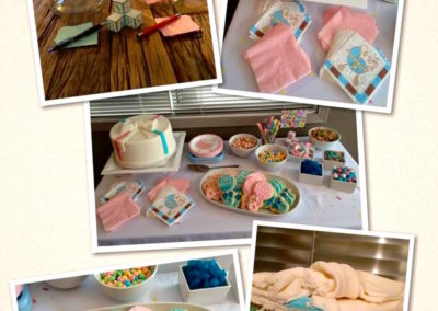 Gender reveal party table