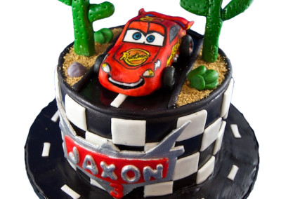 Lightning McQueen and road Theme Cake