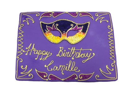 Mask on Purple Cover Womens Cake