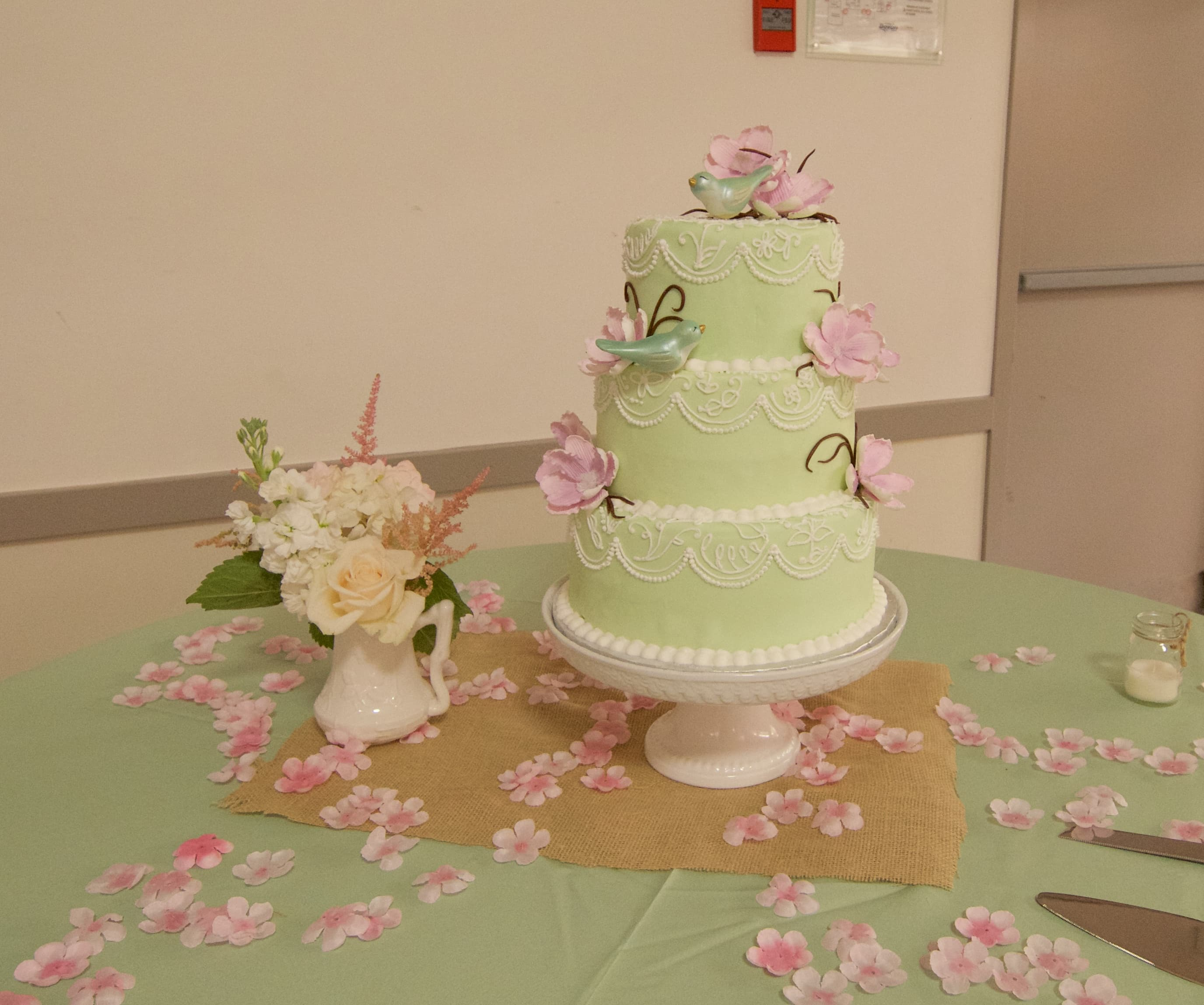 Classic Piping on Green with Flowers Whimsical Cake Studio