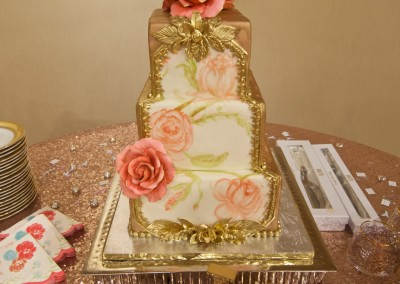 Painted Floral and Gold Wedding cake