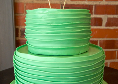 Just Married on Green F Ribbon Wedding Cake