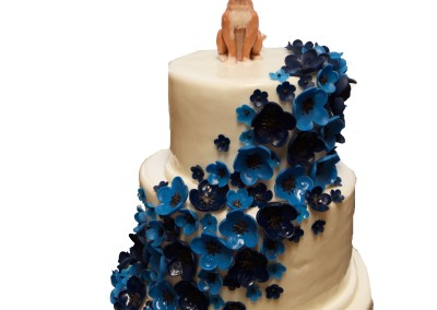 Multi Blue Floral Sash with Our Dog Wedding Cake