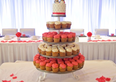 Penguins on White and Pink Wedding cupcake tower