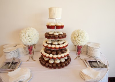 White, Red and Chocolate Cupcake Tower