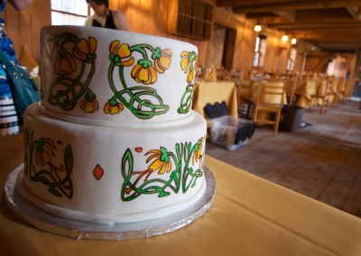 Traditional Northern Painted Flowers Wedding Cake