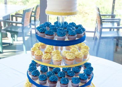 Blue and Yellow under Buttercream Wedding cupcakes