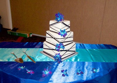 Multi SIzed Ribbon Wrap with Orchids Wedding Cake