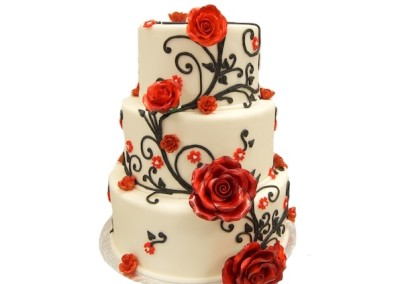 Red Roses and Piped Stems Wedding Cakes