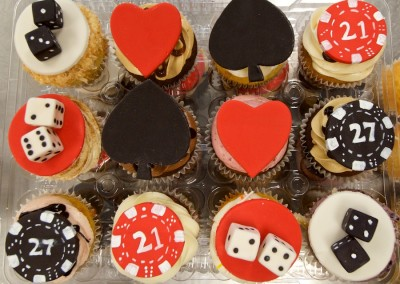Poker Red and Black Theme Cupcakes