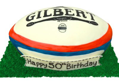Rugby Ball on Grass Mens Cake