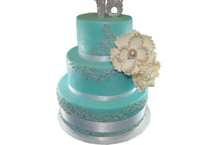 Teal and Silver 3 Tier Women's Cake