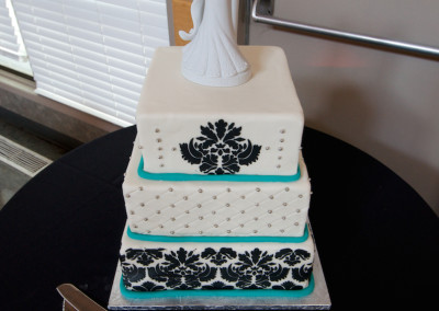 Damask and Quilting with Teal Wedding Cake