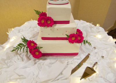 Cute White and Pink with Flowers Wedding Cake