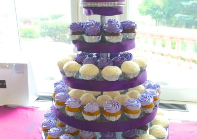 Purple, Silver and Fresh Flowers Wedding cupcakes