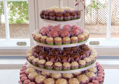 Classic Tower with Real Flowers Wedding Cupcakes