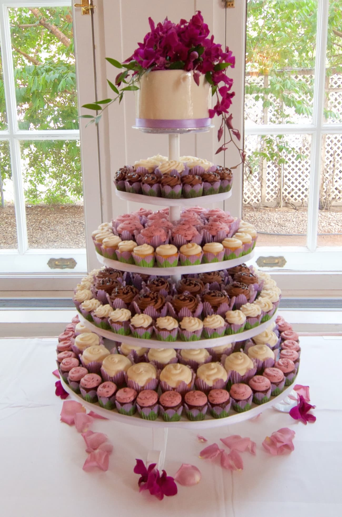 Classic Tower with Real Flowers Whimsical Cake Studio