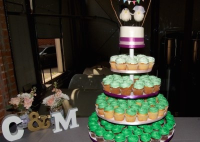 Ombre Green with Bunting Wedding Cupcakes