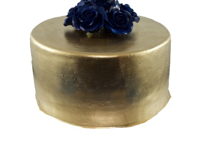 Navy Roses on Pure Gold